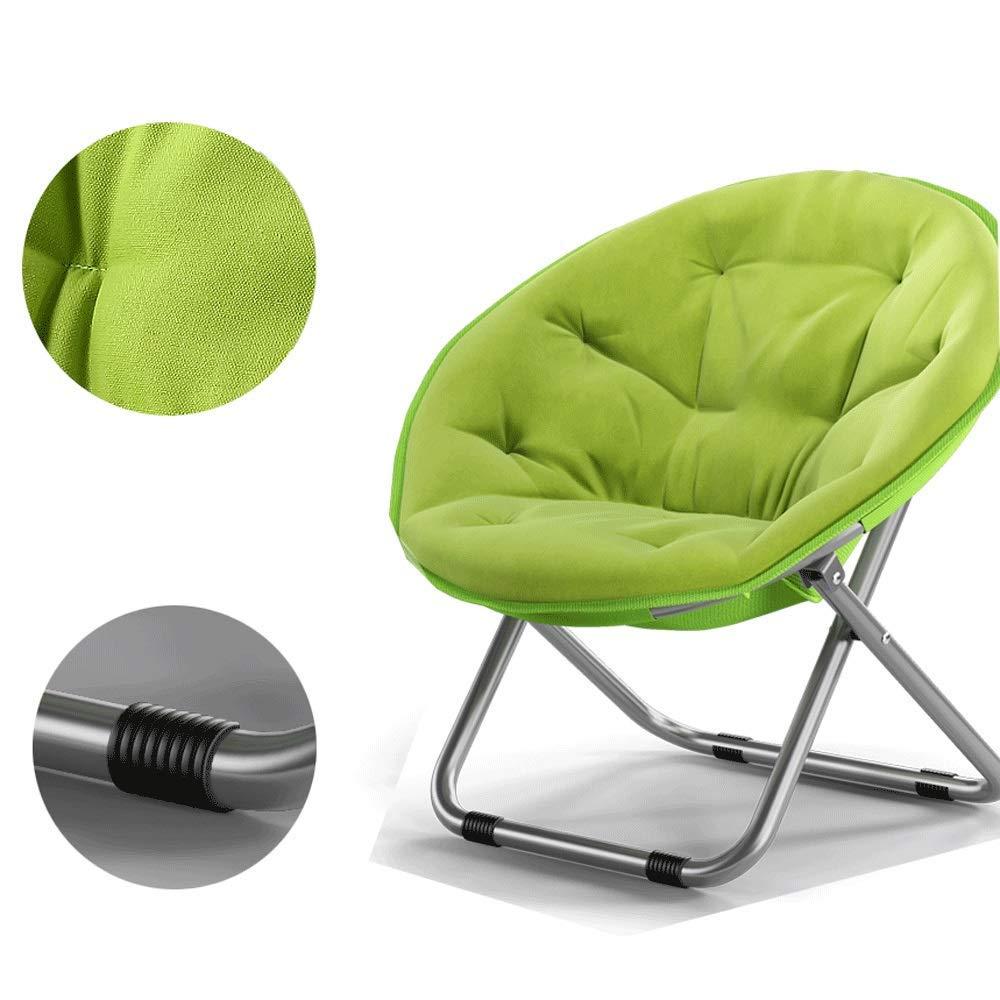 ZXL hopfällbar stol avtagbar hopfällbar stol bärbar vadderad underlägg trädgårdsstol månstol vadderad rund camping camping resor fiske (färg: lila) gRÖN