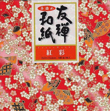 Yuzen Washi Chiyogami Origami Paper 15cm 5 sheets #3245