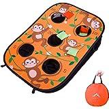 Himal Collapsible Portable 5 Holes Cornhole Game Cornhole Set Bounce Bean Bag Toss Game with 10 Bean Bags,Tic Tac Toe…