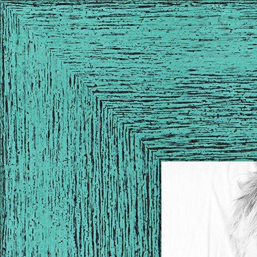 ArtToFrames 8.5x11 inch Aqua Rustic Barnwood Wood Picture Frame, - Aqua Frame Picture