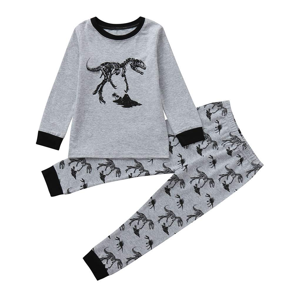 Tronet Kids Toddler Baby Boys Girls Cartoon Print Long Sleeve Tops+ Pants Set (Gray, 7T(Age:6-7Years))