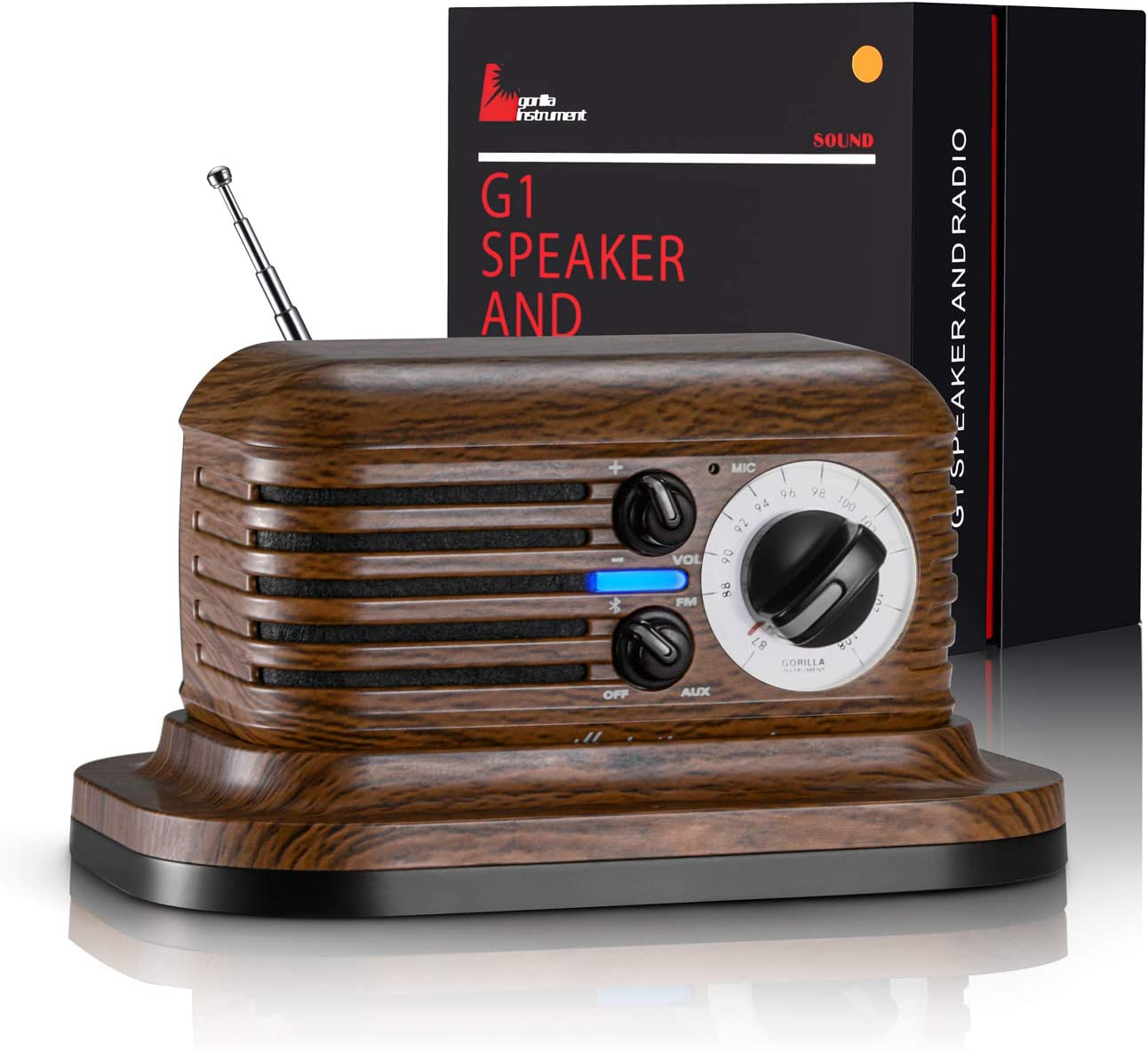DACOOR Premium Portable Vintage Radio Retro Bluetooth5.0 Speaker Strong Bass Enhancement Louder Perfect Sound Wireless Connection for Home Office Kitchen iPhone Samsung and More (Dark-Brown)