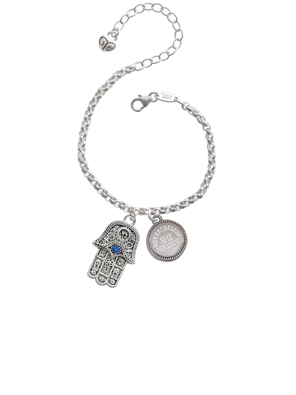 Delight Jewelry Hamsa Hand with Blue Crystal Nevertheless She Persisted Engraved Bracelet