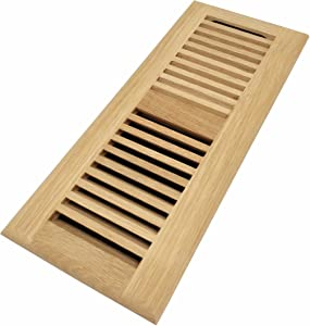 Homewell White Oak Wood Floor Register, Drop in Vent with Damper, 4x12 Inch, Unfinished