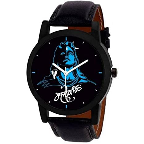 VeBNoR Analogue Blue Black Multicolor Dial Lord Shiv Mahadev Mahakal Black Leather Strap Belt Wrist Watch for Boys and Men Stylish Latest -463