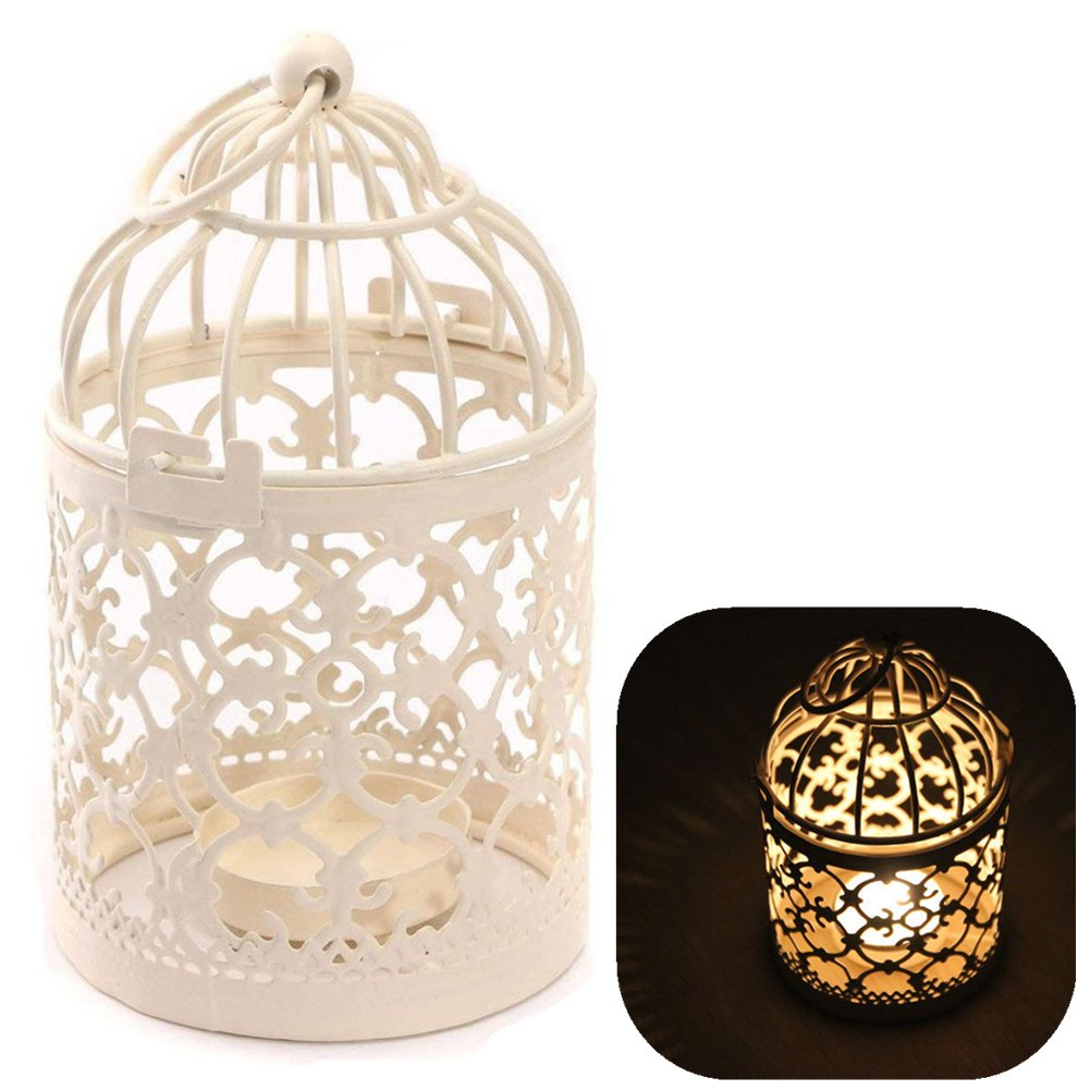 1xToruiwa Candlestick Birdcage Shape Metal Tealight Candle Holder Hollow Out Lanterns Craft for Wedding Home Table Decoration 14 * 8cm White