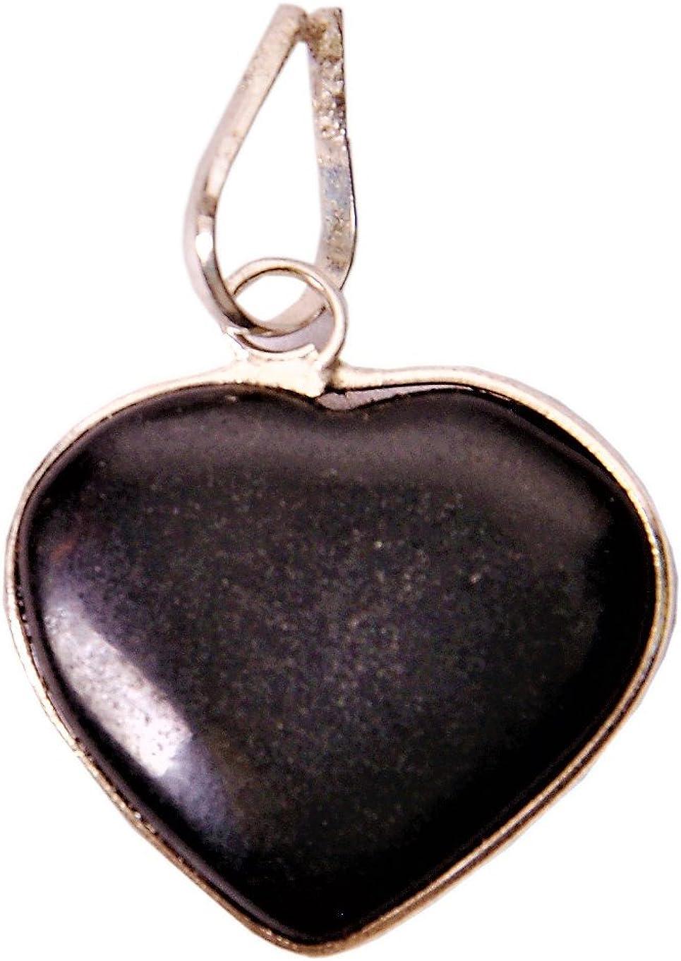 Colgante de corazón de ágata negra de Purpledip para collar: Reiki Energized Natural Crystal Good Luck Charm (11336)