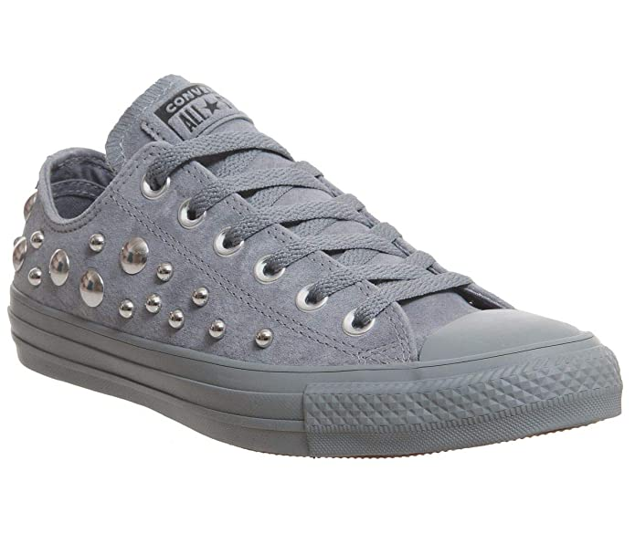 Converse Chucks Chuck Taylor All Star Low Top Sneaker Damen Herren Unisex Grau mit Nieten (Cool Grey)