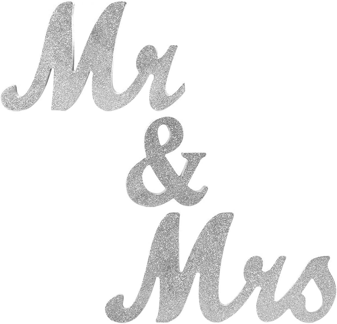 Mr Mrs Sign for Wedding Table,Mr and Mrs Wooden Letters,Large Mr. & Mrs.Party Decoration Items,Head Table Wedding Wood Letter,Just Married Sign Anniversary Party Valentine's Day Vintage Decor,Silver