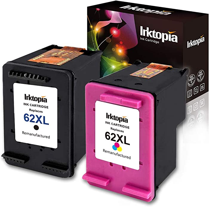Inktopia Remanufactured Replacement for HP 62XL 62 XL (1 Black,1 Tri color) Ink Cartridges High Yield for HP ENVY 5540 5541 5542 5543 5544 5545 5547 5548 5549 5640 Officejet 200 250 258 Show Ink Level