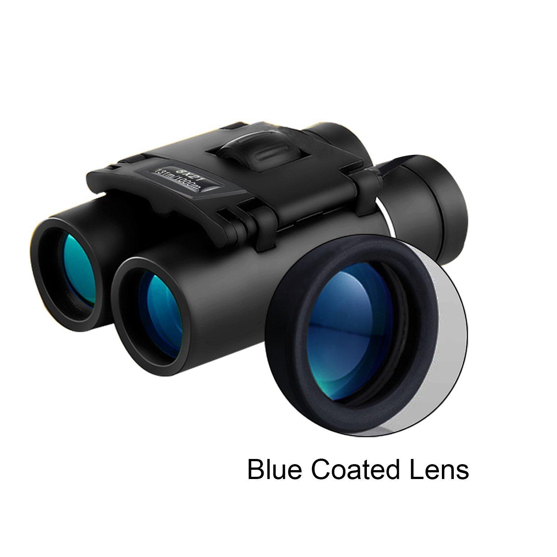 8 x 21コンパクト折りたたみ双眼鏡luckkyme High Poweredミニポケット双眼鏡グリーンスリムコーティングEyepiece for旅行ハイキングBird Watchingの大人と子供 B07BH3GCKP  ブルー