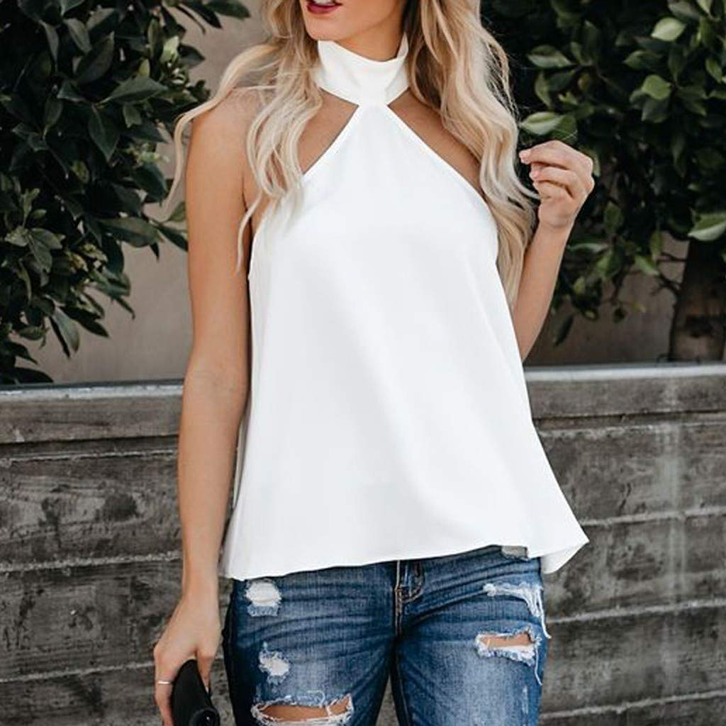Women's Halter Blouse, Gogoodgo Laides Pure Color Sleeveless Loose Hem Tops Cold Shoulder Baggy Soft T-Shirt White by Gogoodgo vest (Image #2)
