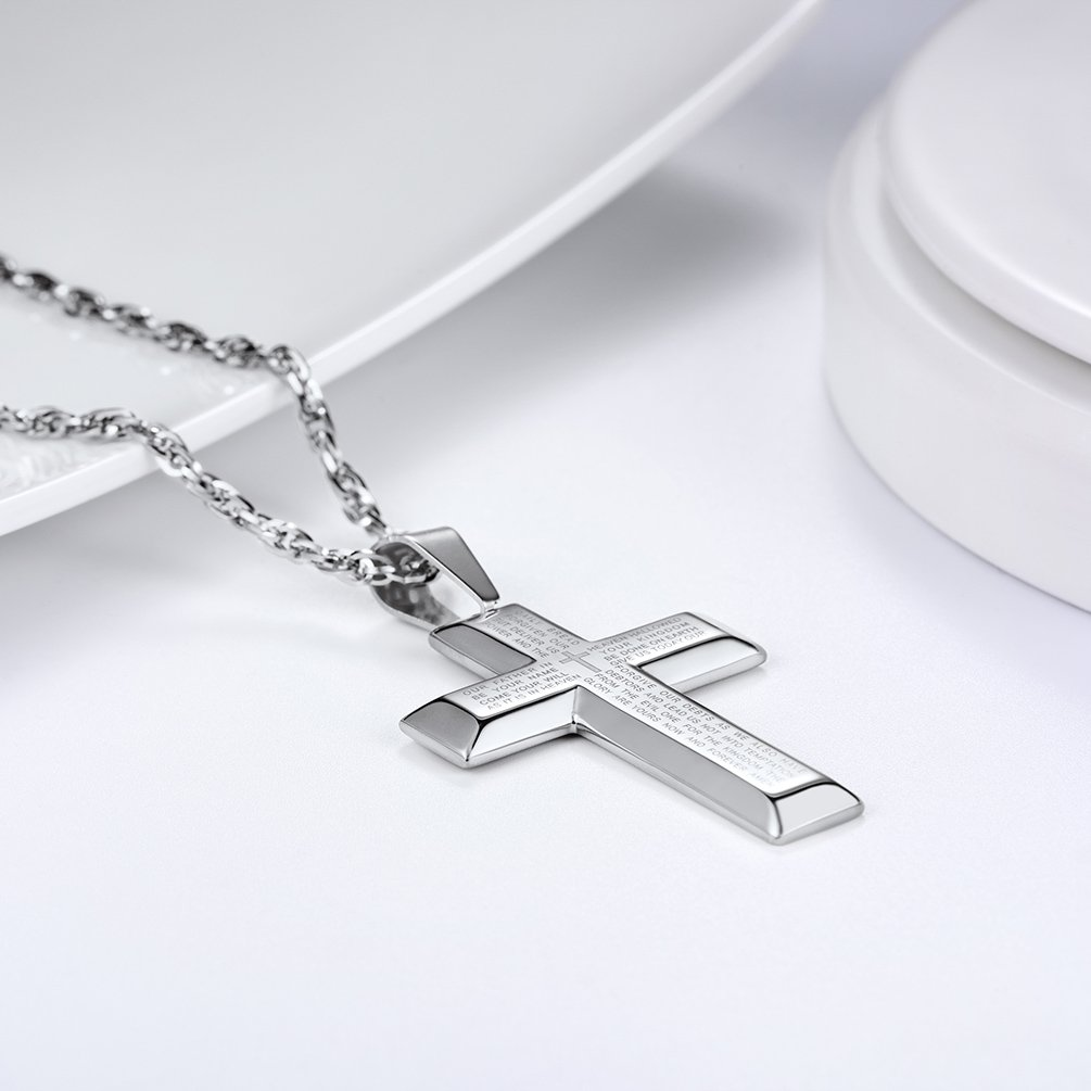 Men Big Cross//Shield of Faith Necklaces with Bible Letter,18K Gold Plated//316L Stainless Steel//Black with Gift Box PROSTEEL Customized Available