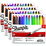 Sharpie Permanent Markers, Fine Point, Assorted Colors, 24-Pack (75846)(4- Packs)