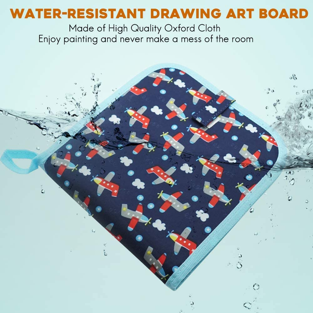 8/×8 inches 14Page Airplane Here Fashion Portable Erasable Drawing Board for Kids Double Sided Reusable Sketchpad Painting Book with 12 Colored Erasable Pens