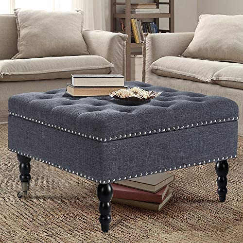 AVAWING 29″ Square Tufted Button Storage Ottoman Table Bench