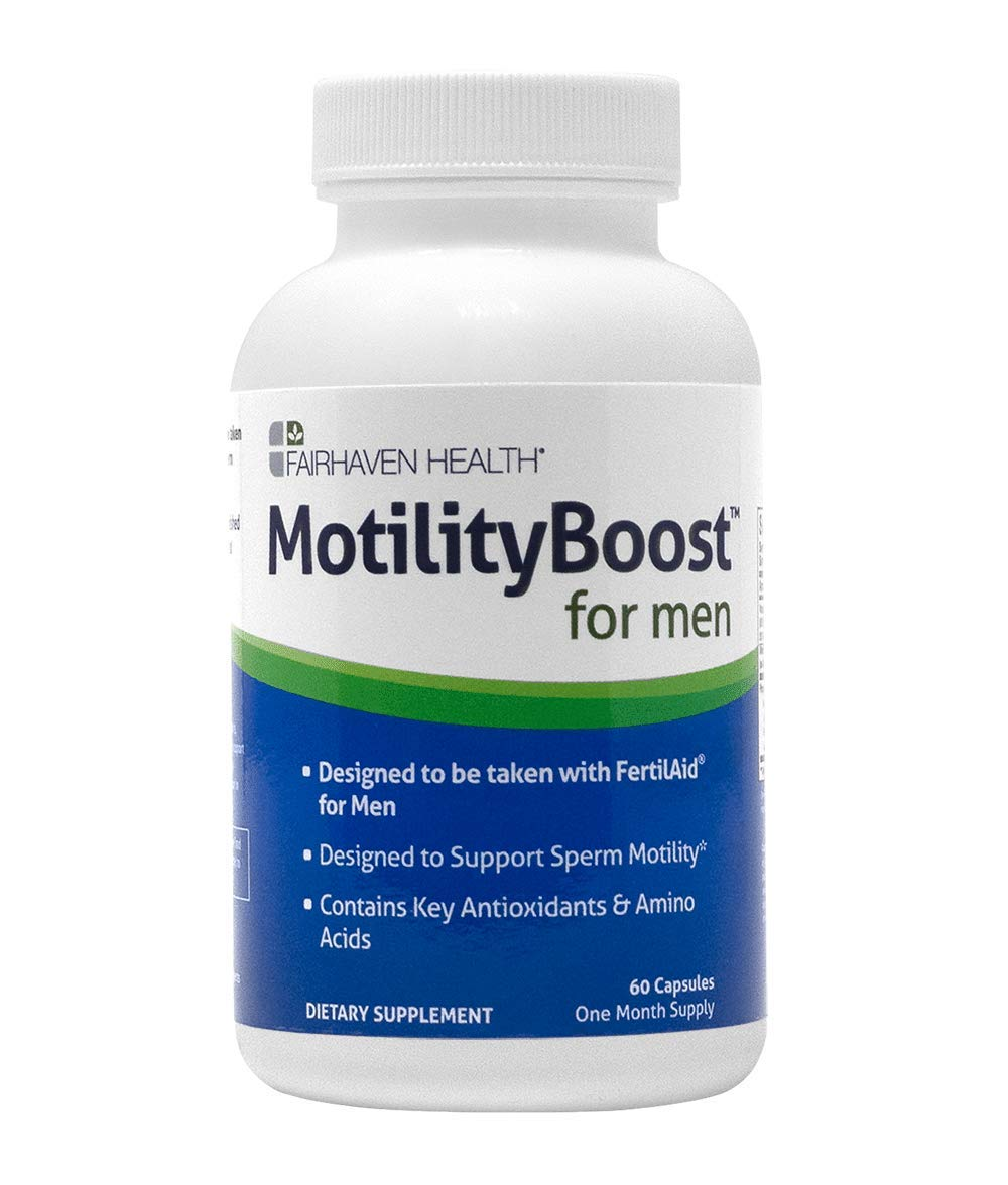 MotilityBoost for Men Fertility Supplement, FertilAid Companion Product, Antioxidant & Specialty Nutrient Support for Sperm Motility, with Maca/Quercetin/L-arginine/Mucuna pruriens, 60 Veg Caps