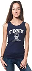 BROOKLYN VERTICAL FDNY Ladies Navy Ribbed Tank with White Distressed Print (XLarge) Juniors fit