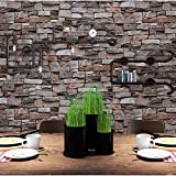 Brick Wallpaper, 3D Stone Textured, Removable and Waterproof for Home Design,Livingroom, Bedroom, Kitchen and Bathroom Decoration 20.8In x 32.8Ft, Gray/Brown/Black