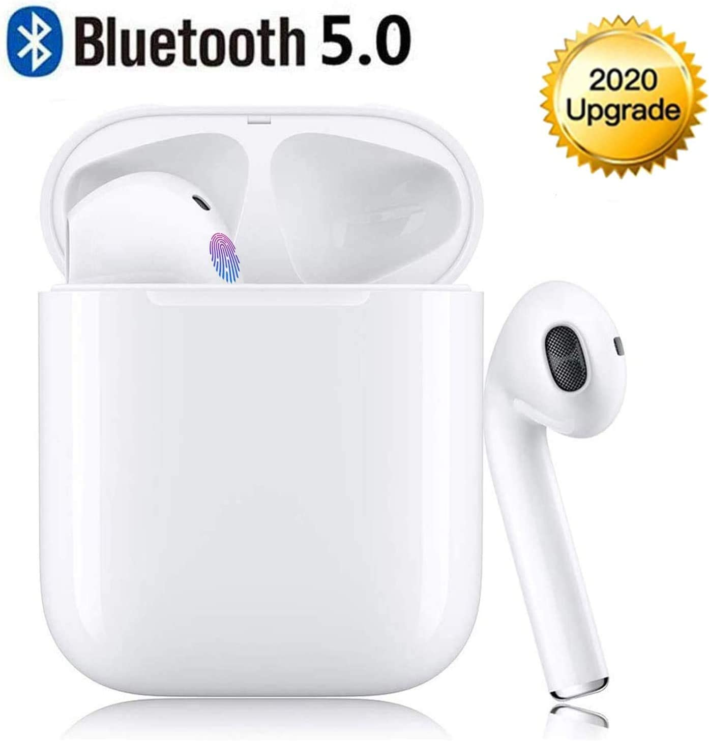 Bluetooth Earbuds Bluetooth 5.0 Built-in Mic Headphones for Phone HiFi Stereo Sound 5-6 Hours Long Playtime Noise Cancelling Earphones with Charging Case – Five White