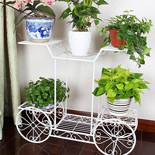 Dazone Rectangular Garden Cart Stand / Flower Pot Plant Holder Display Rack, 6 Tiers, Parisian Style - Great Decor for Home, Garden, Patio (White / Metal)