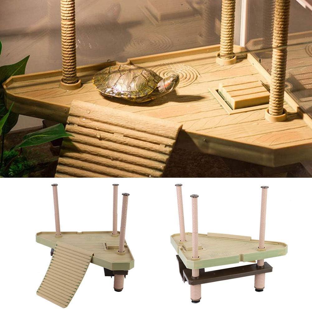 Pssopp Turtle Pier Plataforma Flotante para Tortuga para Reptiles con Escalera de rampa para Acuario o pecera, decoración para pequeños Reptiles Tortugas