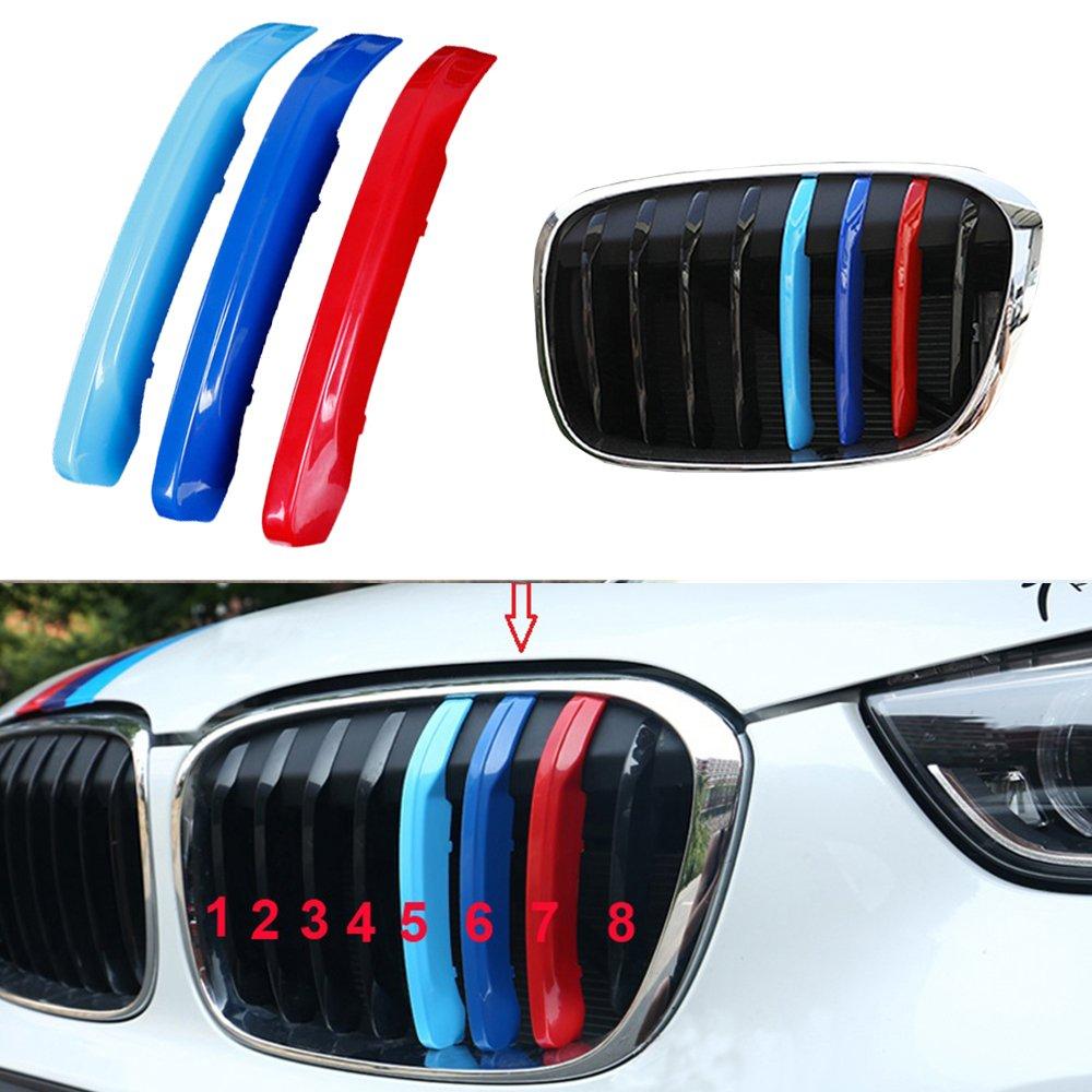 Pour E84 (7Grills) M-Couleur Avant Calandre Car Grille Garnitures 3D M Styling Avant Centre Kidney Grills Garniture motorsport Bande de Grille Couverture Dé coration Autocollant Muchkey 2010-2015 BMW X1 E84 7Grilles