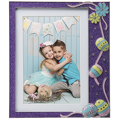 (Neil Enterprises, Inc Easter Purple Glitter Pewter Picture Frame )