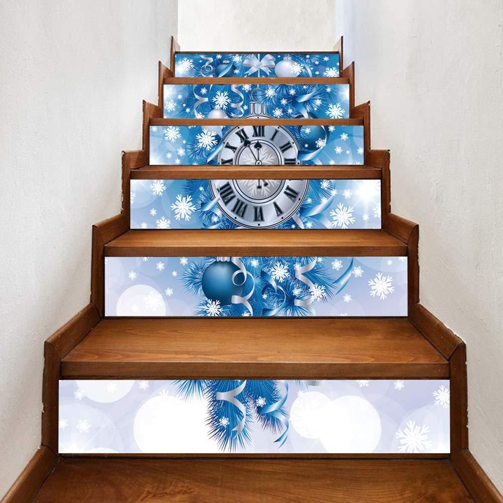 Set Marches descalier Amovibles Autocollants Imperm/éable Papier Peint pour la D/écoration de No/ël 100x18cm HLKODS No/ël 3D Escalier Autocollants 6pcs