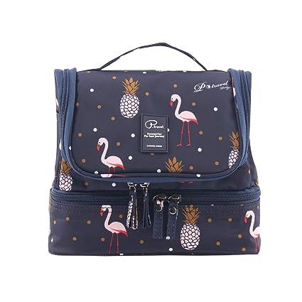 Tuscall Bolsas de Aseo Neceser de Viaje para Mujeres - Neceser para Colgar con Gancho para Hogar Vacaciones Viaje de Negocios Equipaje (Azul Flamingo)