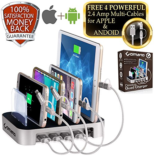 Charging Station with 4 FREE CORDS, 100% ORIGINAL and USA Patent FAST [34W] Desktop Stand Organizer for iPhone, iPad, Samsung Galaxy, Smart Watches and Other micro-USB and Android Charged Devices