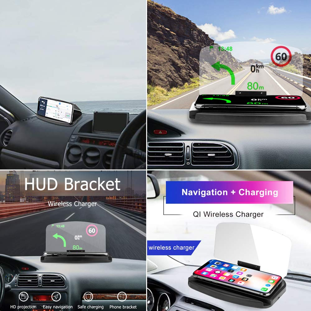 CoolKo 2-in-1 Universal Car HUD Phone GPS Navigation Image Reflector with Wireless Charging Function Bonus: 1.5 Meter Android Braided Cable /& 4 USB Ports Car Charger