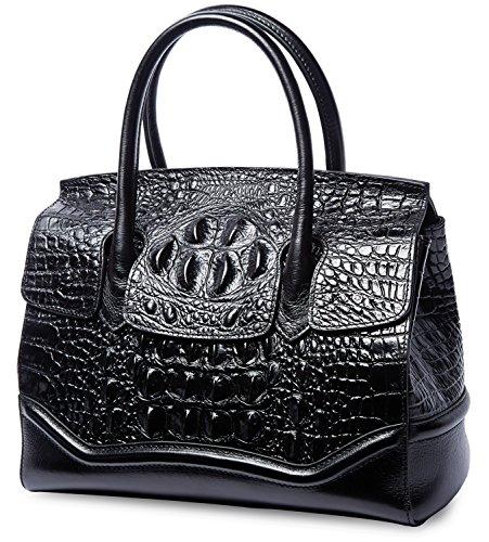 PIFUREN Crocodile Handbag Genuine Cow Leather Shoulder Top Handle Bag M1105 (One Size, (Crocodile Genuine Handbag)