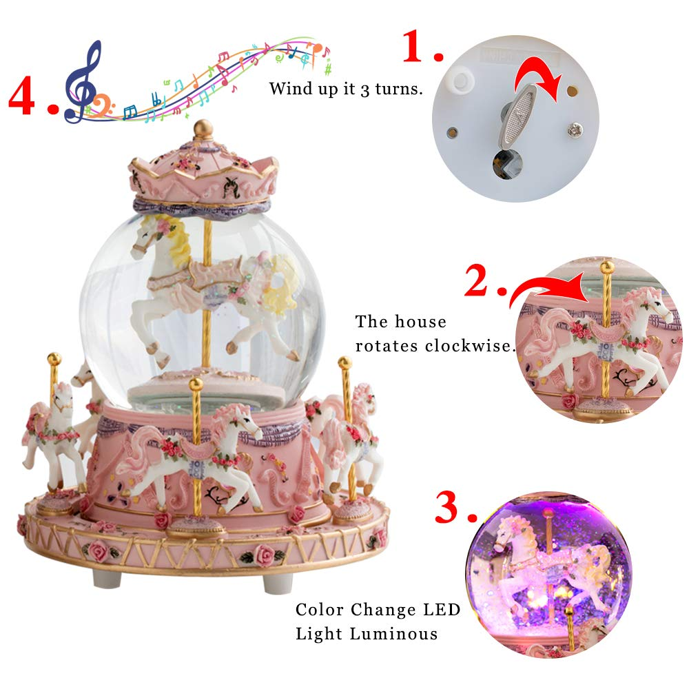 LOVE FOR YOU Carousel Music Box Luxury Color Change LED Light Luminous Rotating 6-Horse Carousel Horse Music Box Home Decor Ornament,Best Birthday Gift for Kids,Girls Plays Castle in The Sky, Pink