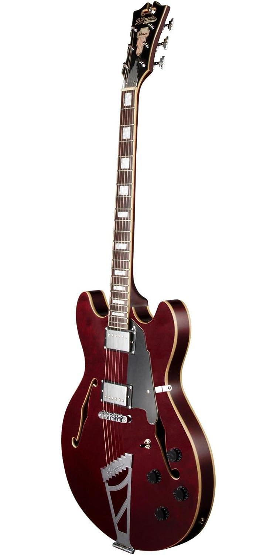 DAngelico Premier DC Guitarra eléctrica semihueca con pieza para escalera - Vino Trans: Amazon.es: Instrumentos musicales