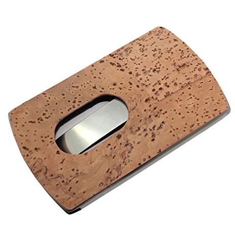Amazon boshiho business card holder stainless steel eco boshiho business card holder stainless steel eco friendly cork wrap name card case unique reheart Gallery