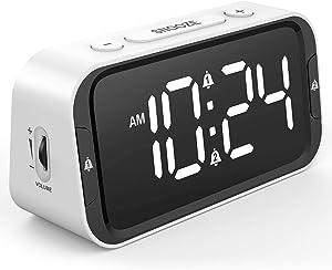 [Easy to Set] Small LED Digital Alarm Clock for Bedroom, Simple Bedside Alarm Clock with 65-90dB Adjustable Loud Volume, 0-100% Full Range Brightness Dimmer, Dual Alarm, USB Charger, Battery Backup