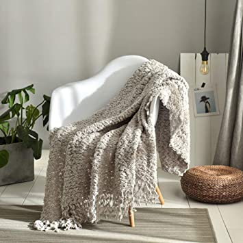 Amazon.com: GSJJ - Manta de sofá cama, con borla, chenilla ...