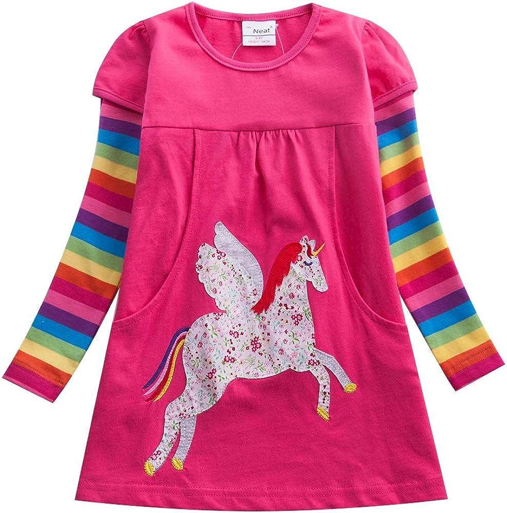 JUXINSU Winter Toddler Girl Flower Cotton Long Sleeve Dresses Animal Pony Butterfly Striped for Kids 1-6 Years