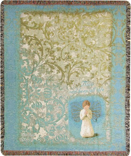 Manual  50 x 60-Inch Tapestry Throw with Fringe, Willow Tree Angel