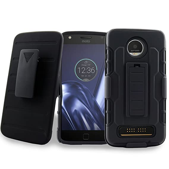 best website 827fa feda5 Moto Z Play Case, Mstechcorp Belt Clip Case and Holster with [Kickstand]  Phone Protector Cover for Motorola Moto Z Play Droid (2016-Verizon) with ...