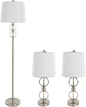 Table Lamps And Floor Lamp Set Of 3 Modern Brushed Steel 3 Led Bulbs Included By Lavish Home