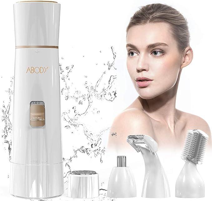Depiladora Mujer Facial, Abody 4 en 1 Afeitadora Mujer Eléctrica con Tecnología Wet & Dry y USB Cargador Para Cara, Cejas, Piernas, Nariz, Bikini (Blanco): Amazon.es ...