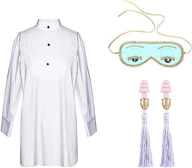 Utopiat Camisa de Dormir Blanca máscara de Ojos Borla Set de