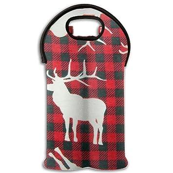 Buffalo Plaid Moose Wine Tote Bag/bolso para novia ducha Gag regalo aislado Vino Bolsa