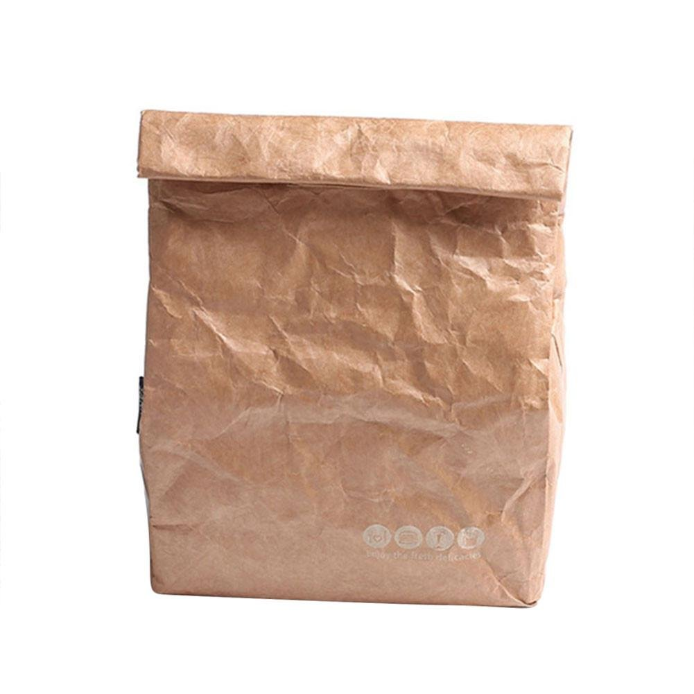 Lembeauty 6L Reusable Brown Paper Lunch Bag Durable Insulated Thermal Kraft Paper Lunch Box with Aluminum Film
