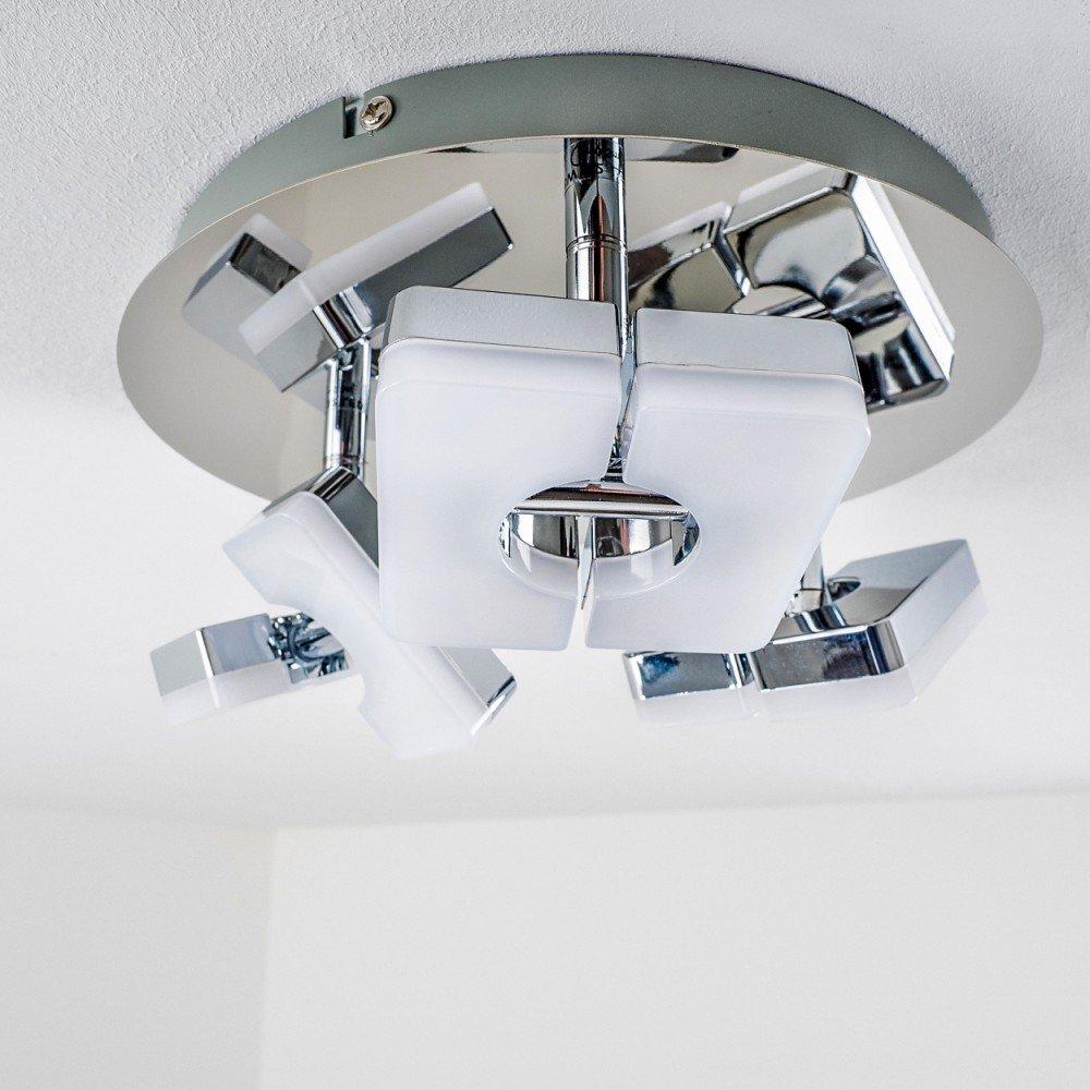 LED Deckenleuchte Turin, LED Deckenlampe Deckenlampe Deckenlampe in Chrom, 2-flammig, mit 2 verstellbaren Strahlern, je 6 Watt, 420 Lumen (840 Lumen insgesamt), Lichtfarbe 3000 Kelvin (warmweiß) 75660c