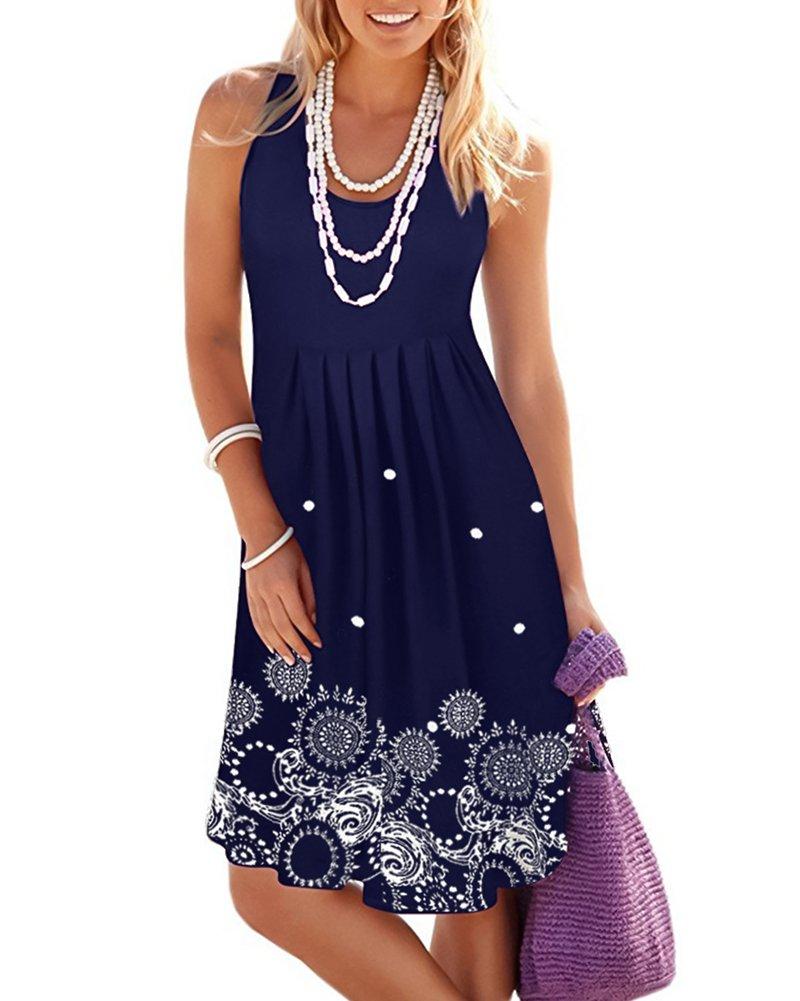 LEANI Women's Summer Sleeveless Floral Print Pleated Vest Midi Dress Casual Empire Waist Loose Tank Dress (Navy, Medium)