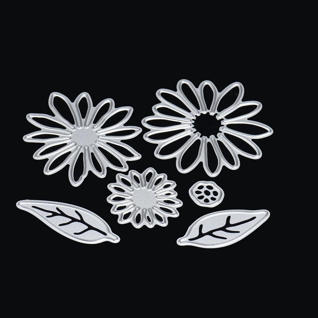 Transer® Metal Cutting Dies- Floral Rose Flower Leaves Stencil- DIY Scrapbooking Embossing Album Paper Card Craft Die Tool (A ( 6cm))
