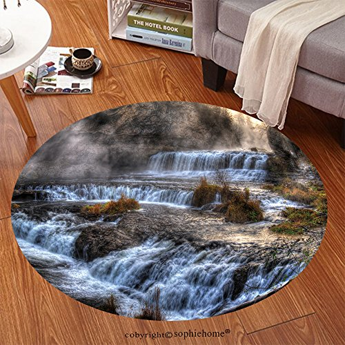 Blower Single Range (Sophiehome Soft Carpet 249122089 Colorful scenic waterfall in High Dynamic Range Anti-skid Carpet Round 47 inches)